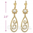 EL134 Gold Layered Pearl Long Earrings