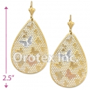 EL135 Gold Layered Tri-Color Long Earrings
