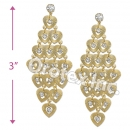 EL140 Gold Layered CZ Long Earrings