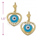 EL143 Gold Layered Blue Eye Long Earrings