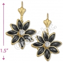 EL145 Gold Layered CZ Long Earrings