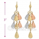 EL148 Gold Layered  Tri-Color Long Earrings