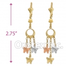 EL149 Gold Layered  Tri-Color Long Earrings