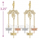 EL150 Gold Layered  Tri-Color Long Earrings