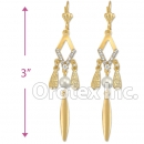 EL152 Gold Layered CZ Long Earrings