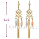 EL153 Gold Layered  Tri-Color CZ Long Earrings