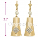 EL157 Gold Layered CZ Long Earrings