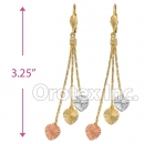 EL160 Gold Layered  Tri-Color Long Earrings