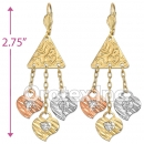 EL164 Gold Layered  Tri-Color Long Earrings