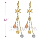 EL165 Gold Layered  Tri-Color CZ Long Earrings