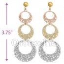 EL168 Gold Layered  Tri-Color Long Earrings