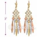 EL169 Gold Layered  Tri-Color CZ Long Earrings