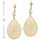 El229C Gold Layered Pearl Long Earrings