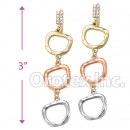 EL247C Gold Layered CZ Tri-Color Long Earrings
