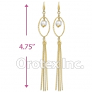 EL338 Gold Layered Pearl Long Earrings