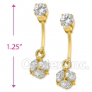 EL350 Orotex Gold Layered CZ Long Earrings