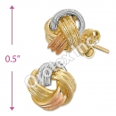 ES009 Gold Layered Tri-Color Stud Earrings