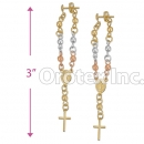ES017 Gold Layered Tri-Color Stud Earrings