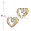 ES018 Gold Layered Two Tone CZ Stud Earrings
