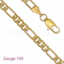 GFC1-17 Gold Layered Figaro 3+1 Yellow Pave Gauge 100