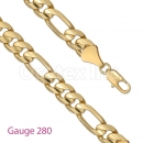 GFC1-2 Gold Layered Figaro 3+1 Chain Gauge 280