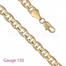GFC1-20 Gold Layered Mariner Concave Yellow Pave Chain Gauge 150