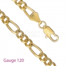 GFC1-7 Gold Layered Figaro 3+1 Chain Gauge 120