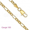 GFC1-9 Gold Layered Figaro 3+1 Chain Gauge 100