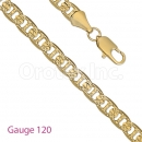 GFC2-1 Gold Layered Mariner Concave Yellow Pave Chain Gauge 120