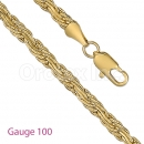GFC2-15 Gold Layered Figaro 3+1 Yellow Pave Chain Gauge 100