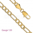 GFC2-17 Gold Layered Figaro 3+1 Yellow Pave Chain Gauge 120