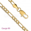 GFC2-18 Gold Layered Figaro 3+1 Yellow Pave Chain Gauge 080
