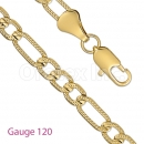 GFC2-22 Gold Layered Figaro 3+1 Yellow Pave Chain Gauge 120