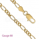 GFC2-23 Gold Filled Figaro 3+1 Chain Gauge 080