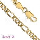GFC3-1 Gold Layered Figaro 3+1 Chain Gauge 100
