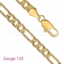 GFC3-2 Gold layered Figaro 3+1 Yellow Pave Chain Gauge 120