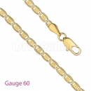 GFC3-6 Gold Layered Diamond Cut Valentino Chain Gauge 060