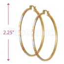 3mm Indian Gold Plated Tri-Color Hoop Earrings