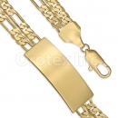 GFQB31-21 Gold Layered 3+1 Figaro Bracelet
