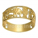 Orotex Gold Layered Ladies Lucky Ring