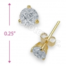 Orotex Gold Layered Invisible Cut Round Stud CZ Earring