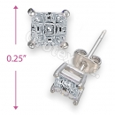 Orotex Silver Layered Invisible Cut Square Stud CZ Earring