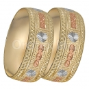 GLG1-24-C 25mm Indian Gold Plated Tri-color Diamond Cut Bangle