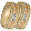 GLG1-24-E 25mm Indian Gold Plated Tri-color Diamond Cut Bangle