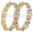 Set of Two Red & White CZ Indian Gold Plated Bangle