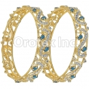 Set of Two Green & White CZ Indian Gold Plated Bangle
