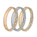 Indian Gold Plated Tri-color Two Lines CZ Bangle