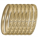 GLG1-52AG   6mm Gold Plated Laser Cut  Semanario Bangle