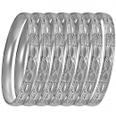 GLG1-52BS  6mm Silver Plated Laser Cut  Semanario Bangle
