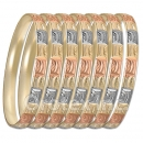 GLG1-52F  6mm Laser Cut Tri-color Semanario Bangle